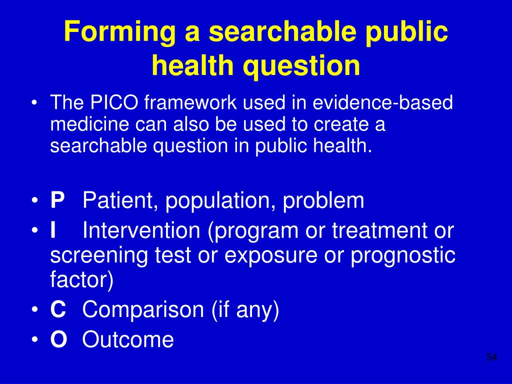 Forming a searchable public health question