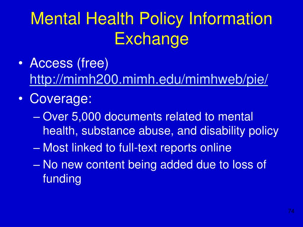 Mental Health Policy Information Exchange