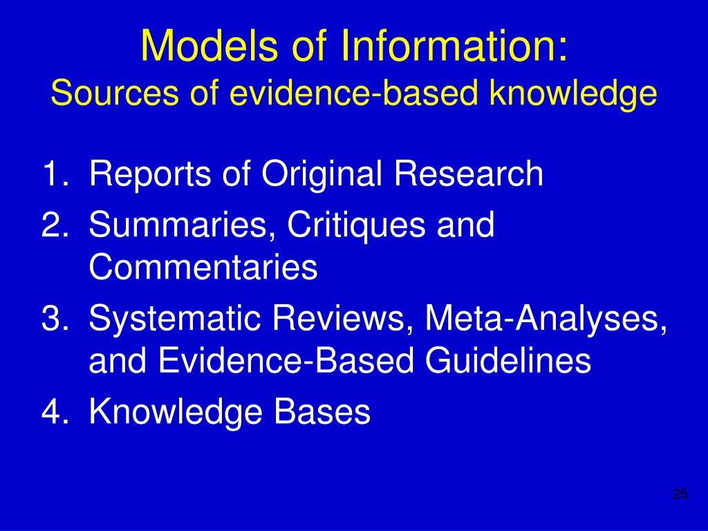 Models of Information: