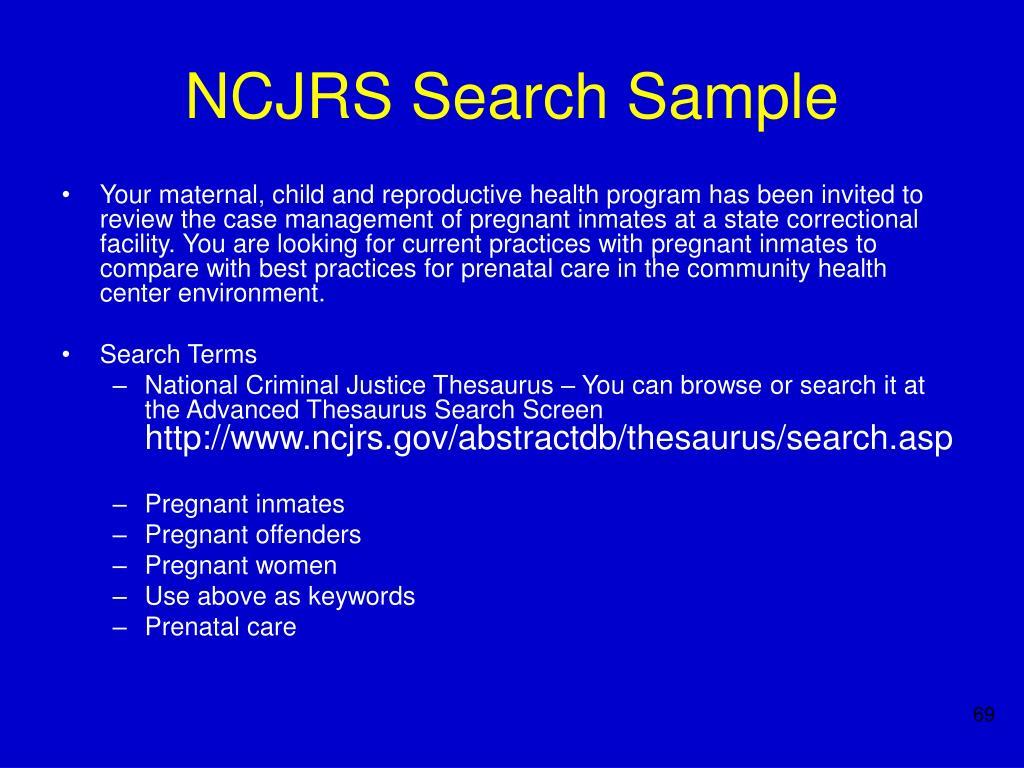 NCJRS Search Sample