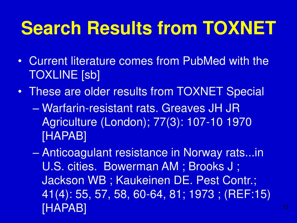 Search Results from TOXNET