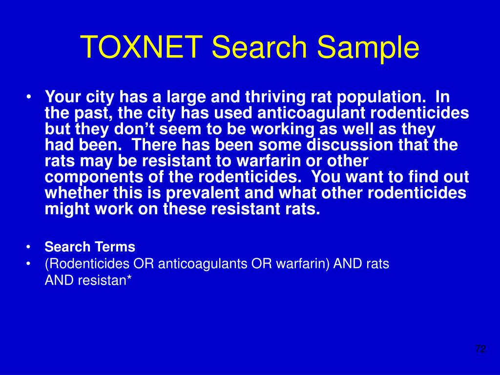 TOXNET Search Sample