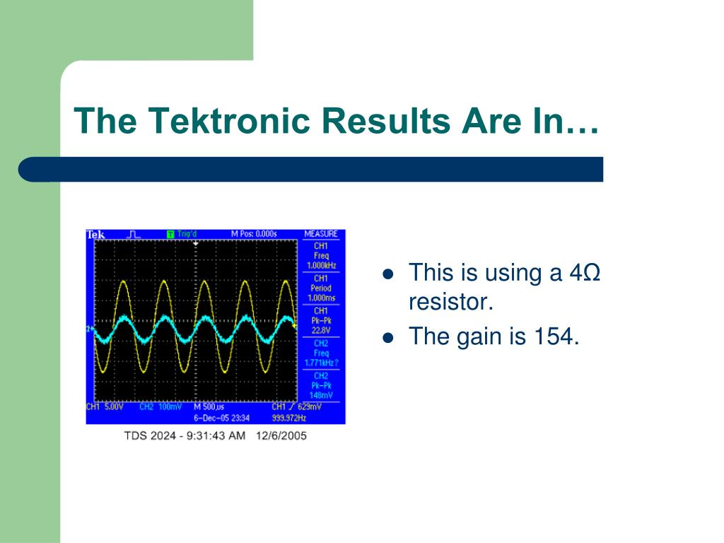 The Tektronic Results Are In…