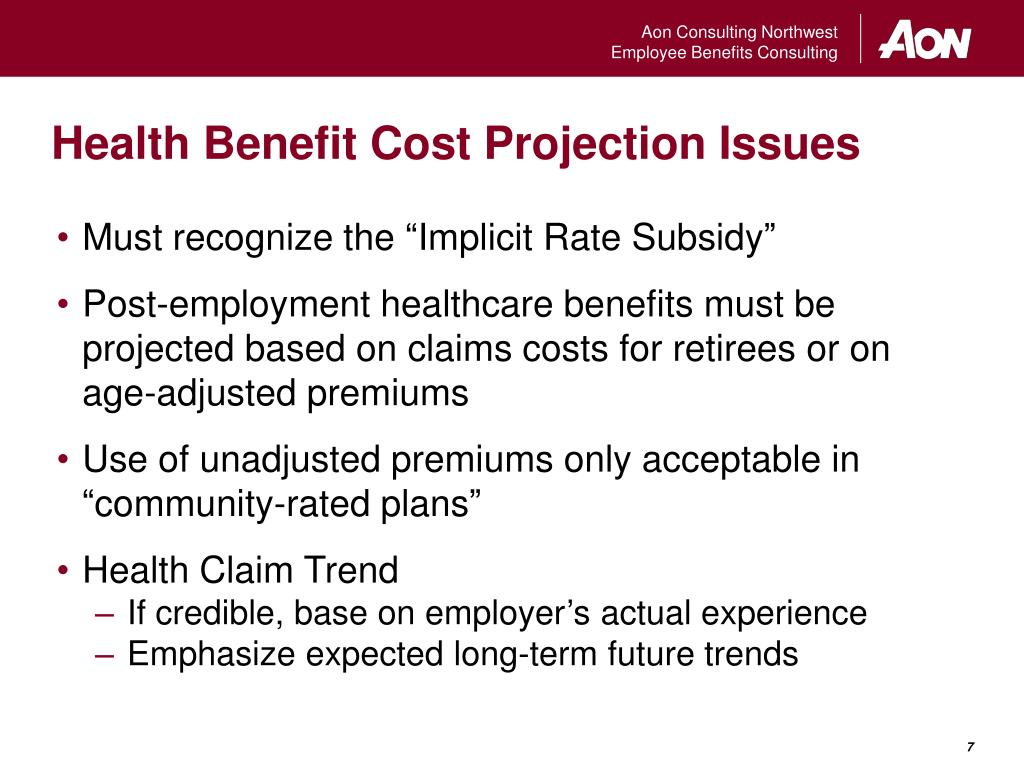 Health Benefit Cost Projection Issues