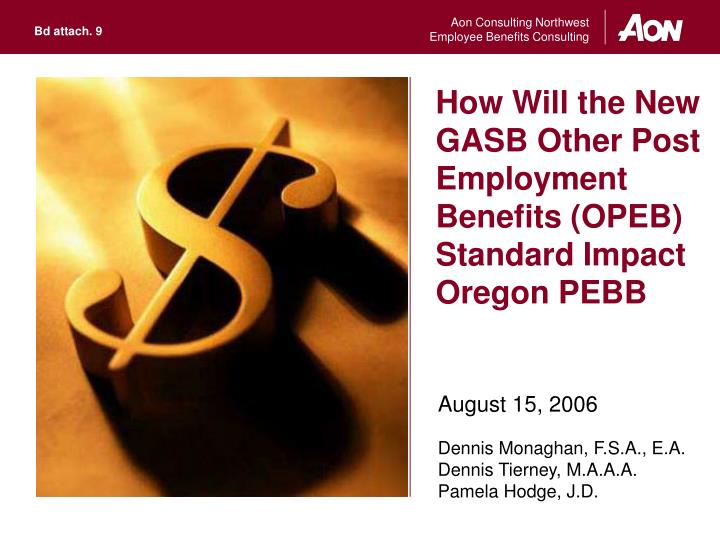 How will the new gasb other post employment benefits opeb standard impact oregon pebb
