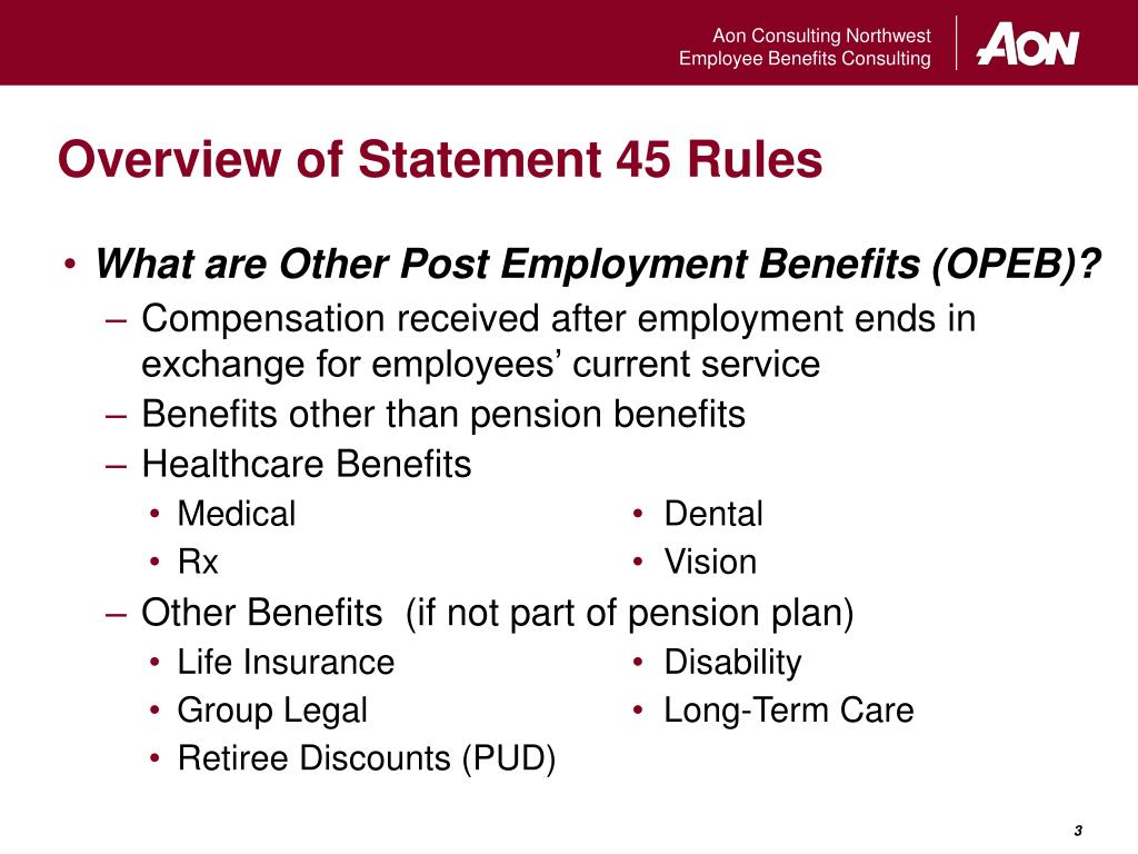 Overview of Statement 45 Rules