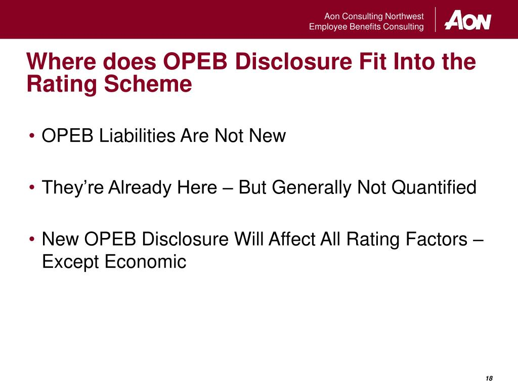 Where does OPEB Disclosure Fit Into the Rating Scheme