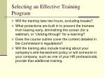 selecting an effective training program