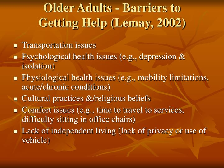 Older Adults - Barriers to