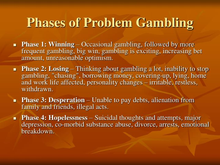 Phases of Problem Gambling
