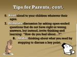 tips for parents cont