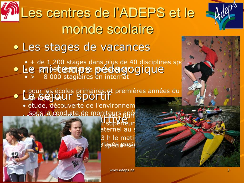 Les centres de l'ADEPS et le monde scolaire