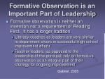 formative observation is an important part of leadership