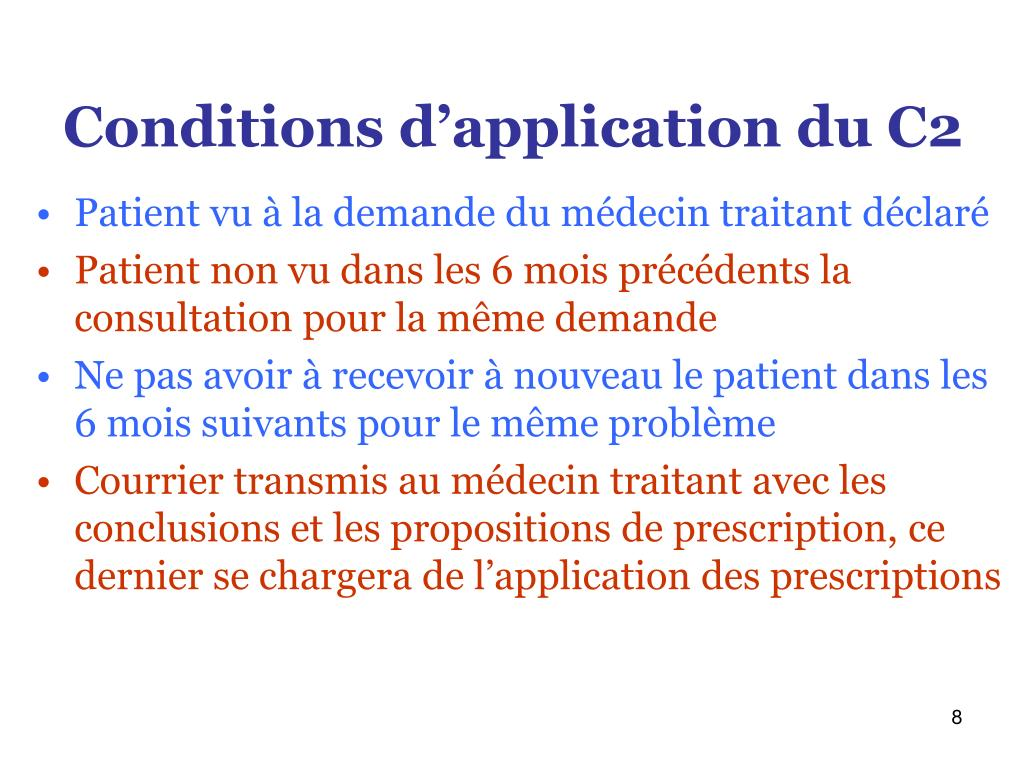 Conditions d'application du C2