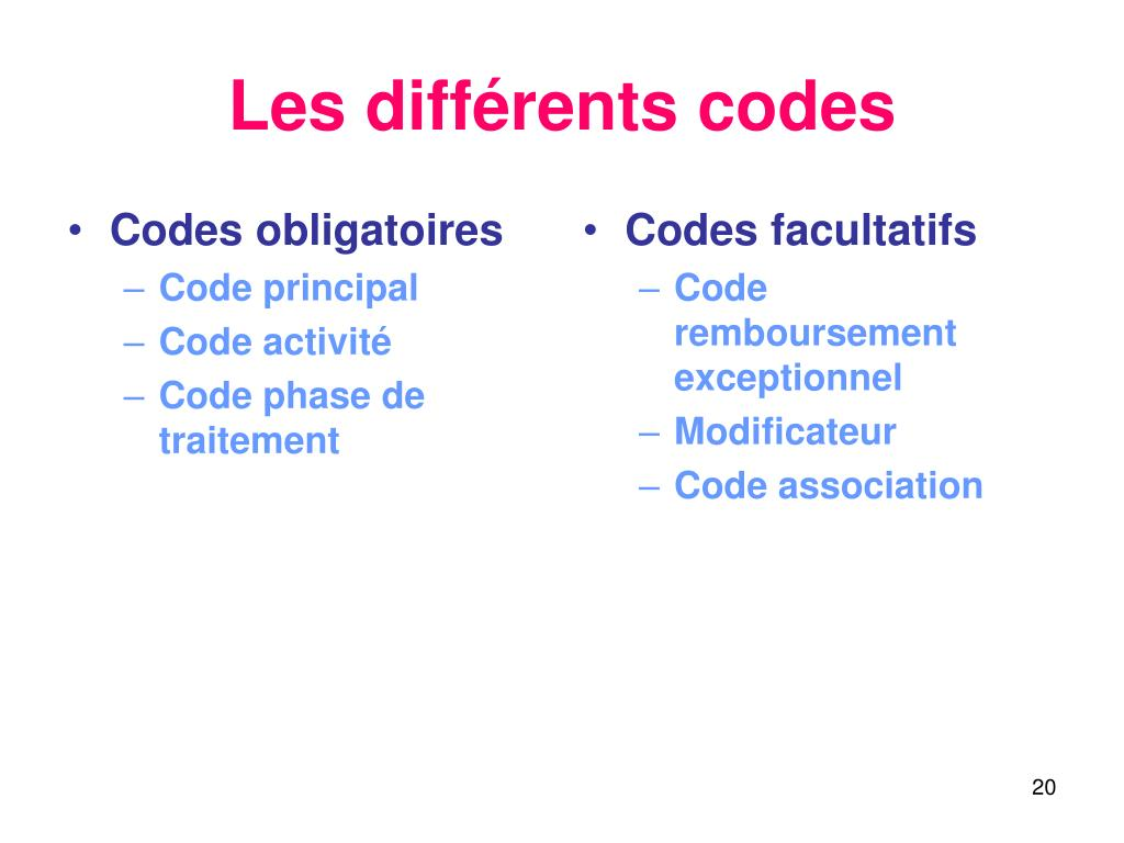 Codes obligatoires
