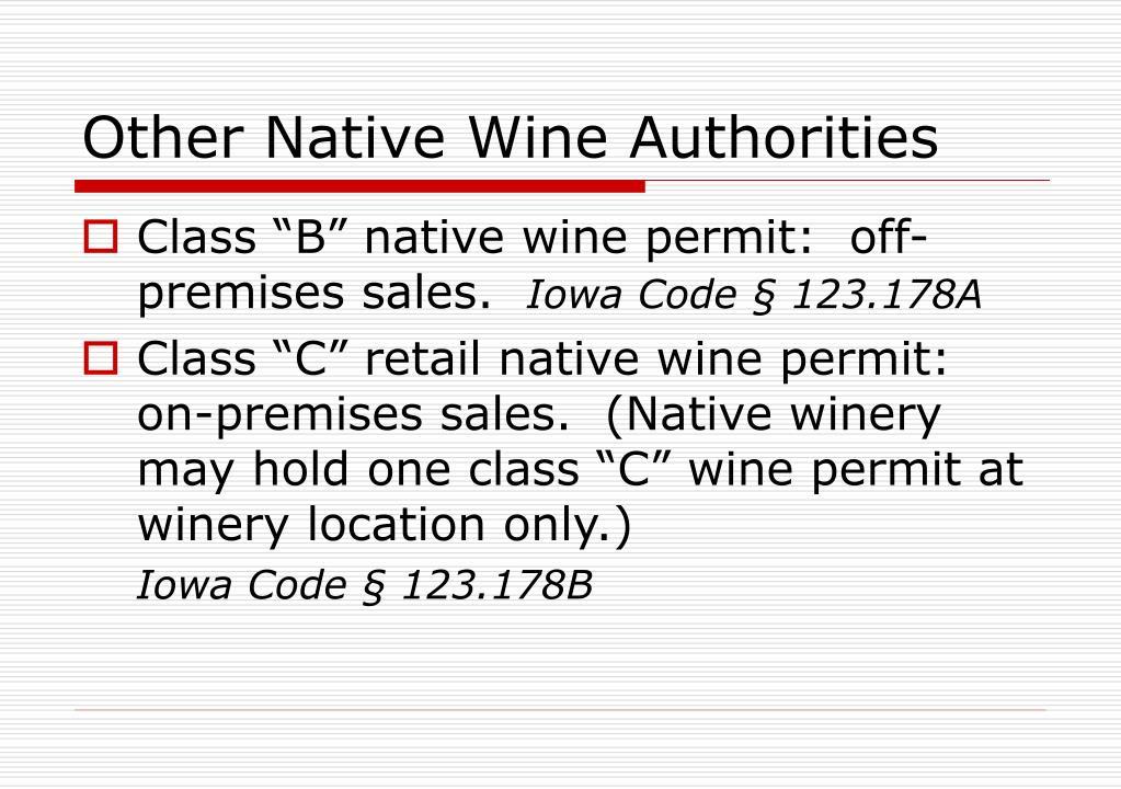 Other Native Wine Authorities