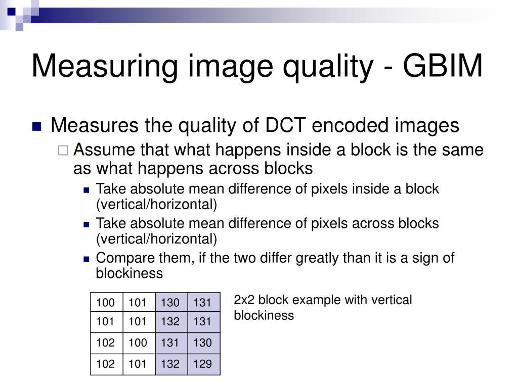 Measuring image quality - GBIM