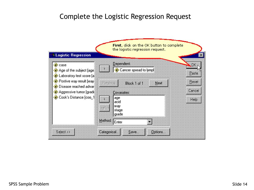 Complete the Logistic Regression Request