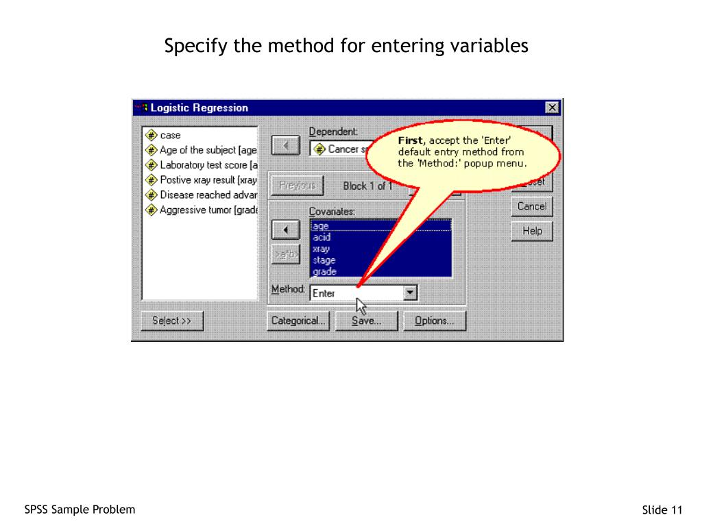 Specify the method for entering variables