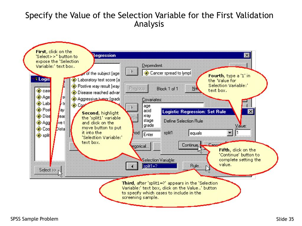 Specify the Value of the Selection Variable for the First Validation Analysis