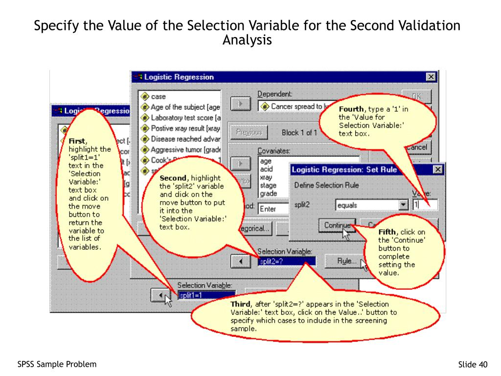 Specify the Value of the Selection Variable for the Second Validation Analysis