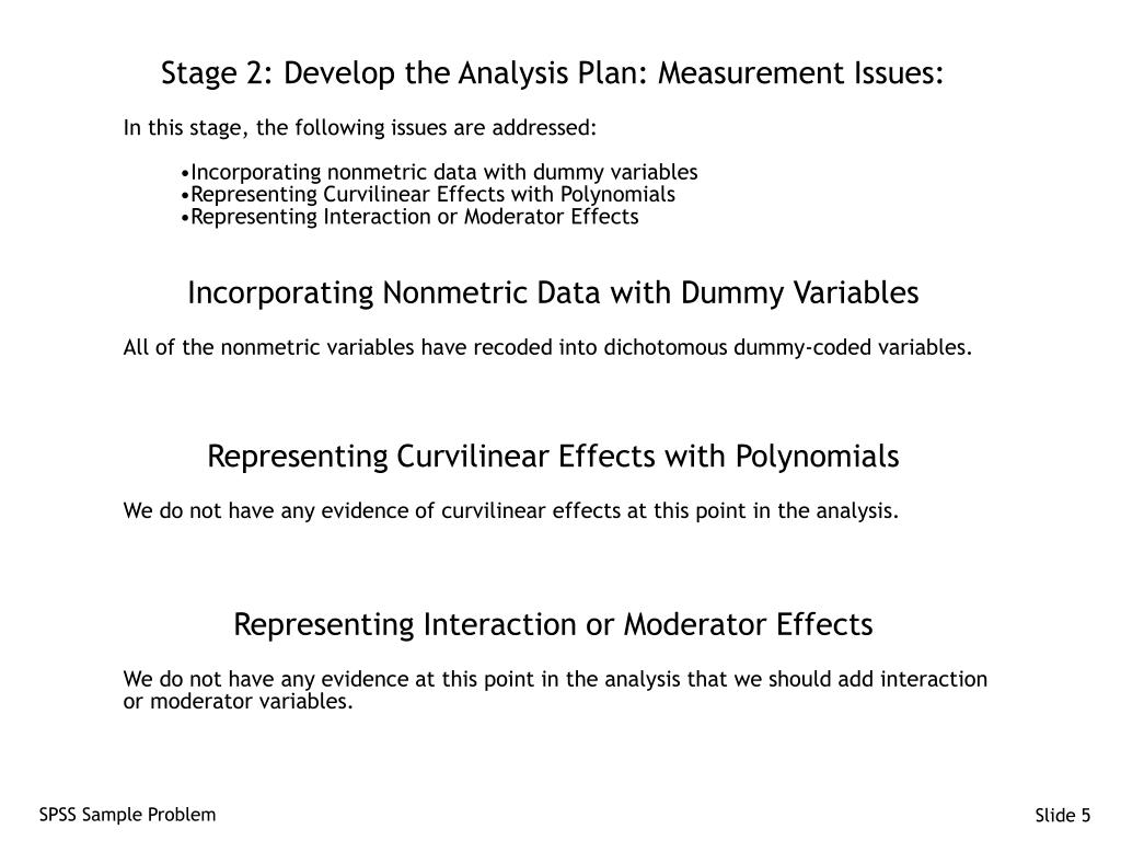 Stage 2: Develop the Analysis Plan: Measurement Issues: