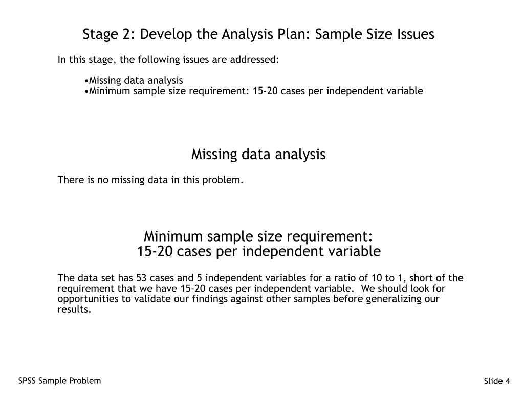 Stage 2: Develop the Analysis Plan: Sample Size Issues
