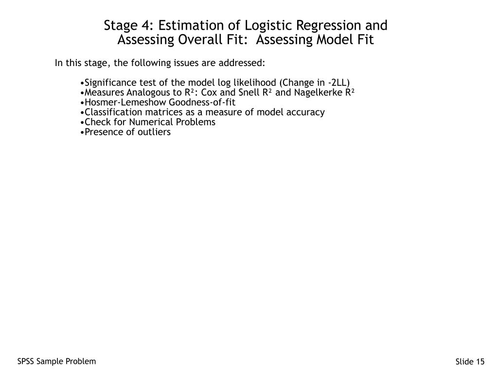 Stage 4: Estimation of Logistic Regression and