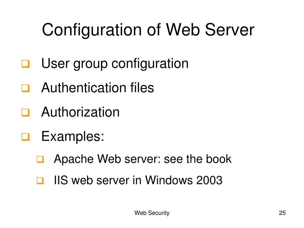 Configuration of Web Server