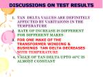 discussions on test results