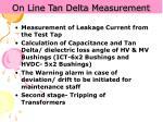 on line tan delta measurement