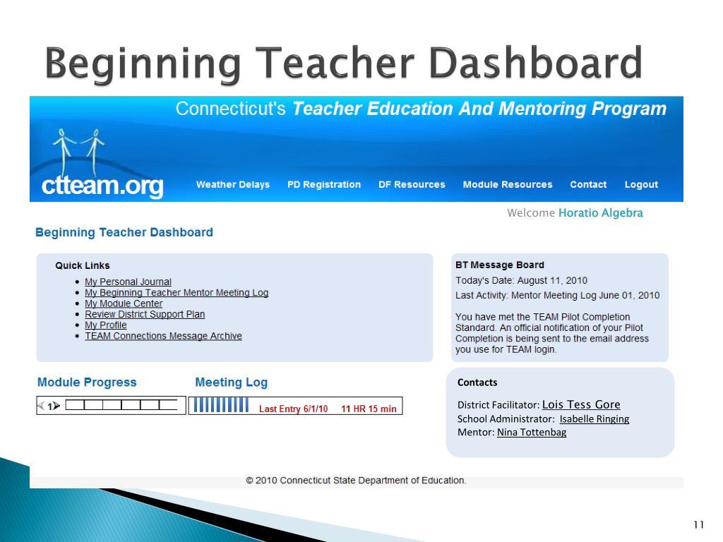 Beginning Teacher Dashboard