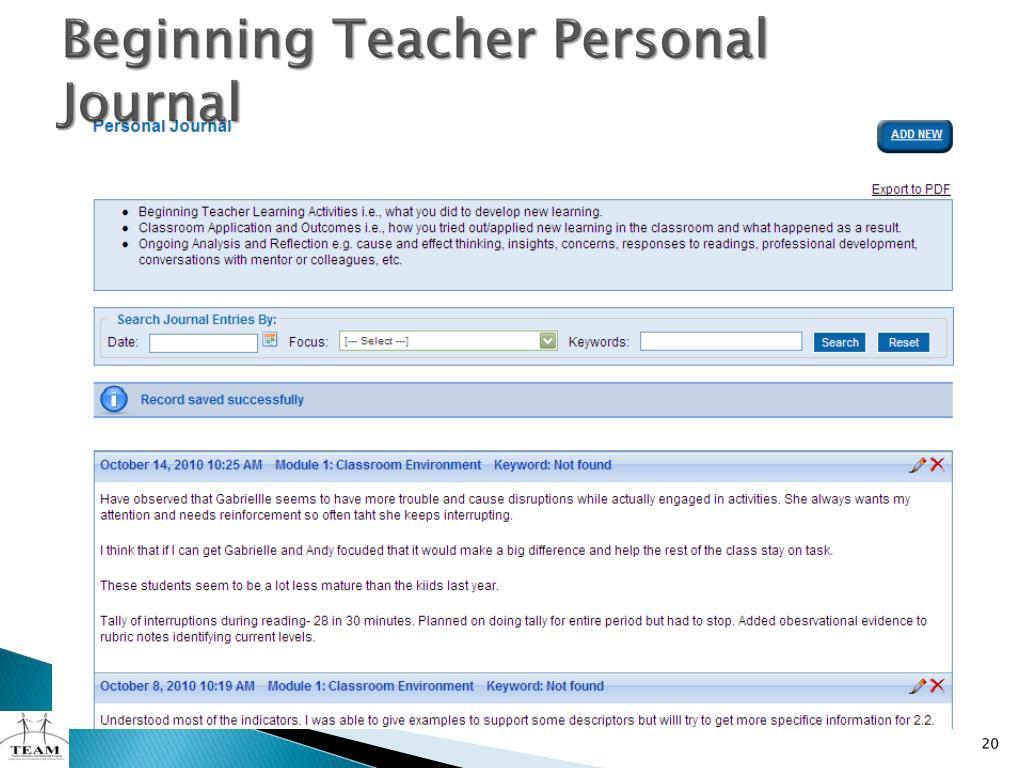 Beginning Teacher Personal Journal