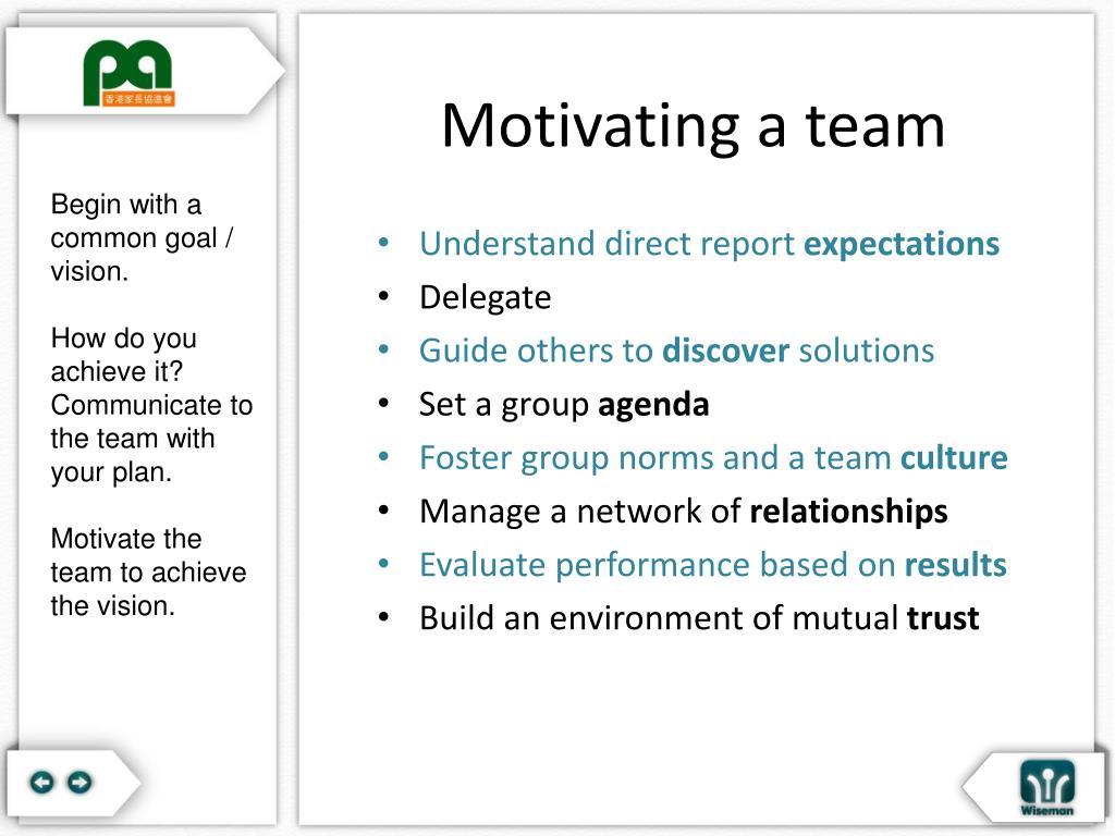 Motivating a team