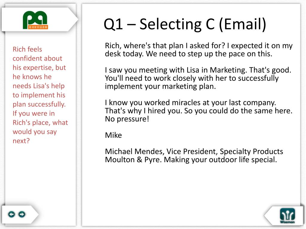 Q1 – Selecting C (Email)
