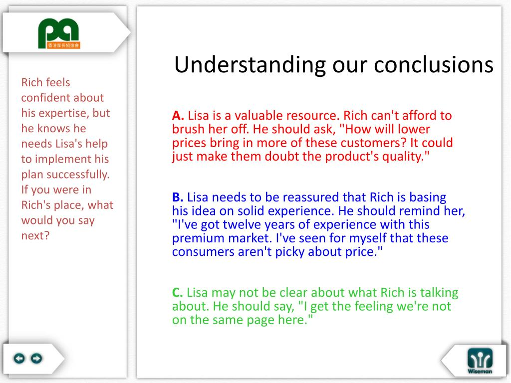 Understanding our conclusions