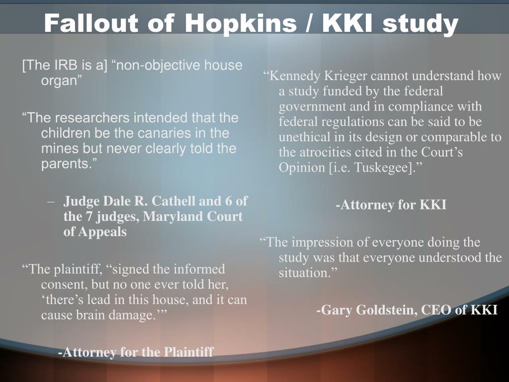 Fallout of Hopkins / KKI study