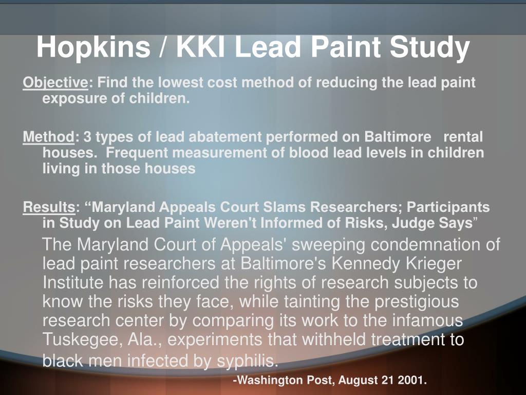 Hopkins / KKI Lead Paint Study