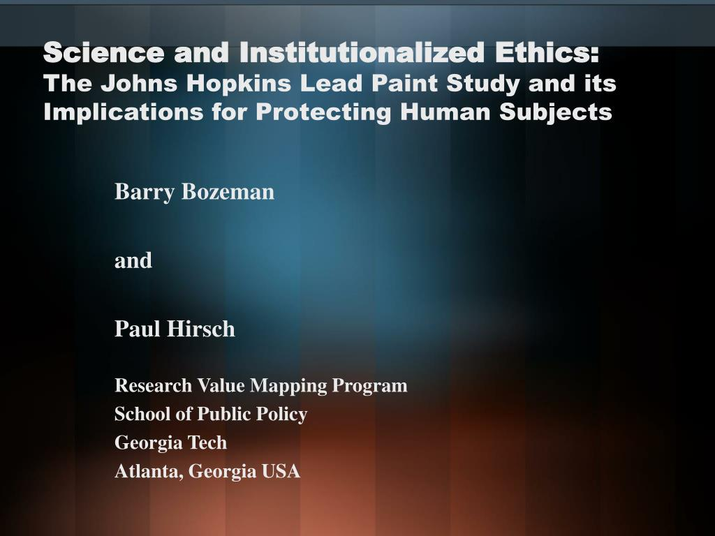 Science and Institutionalized Ethics: