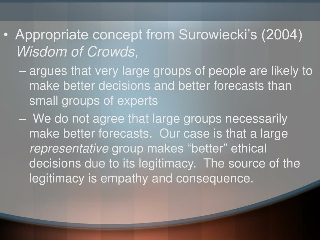 Appropriate concept from Surowiecki's (2004)