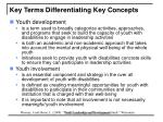 key terms differentiating key concepts