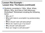 lesson plan example lesson one the basics continued