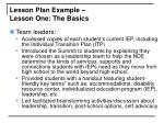 lesson plan example lesson one the basics