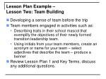 lesson plan example lesson two team building