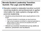 nevada student leadership transition summit the logic and the method