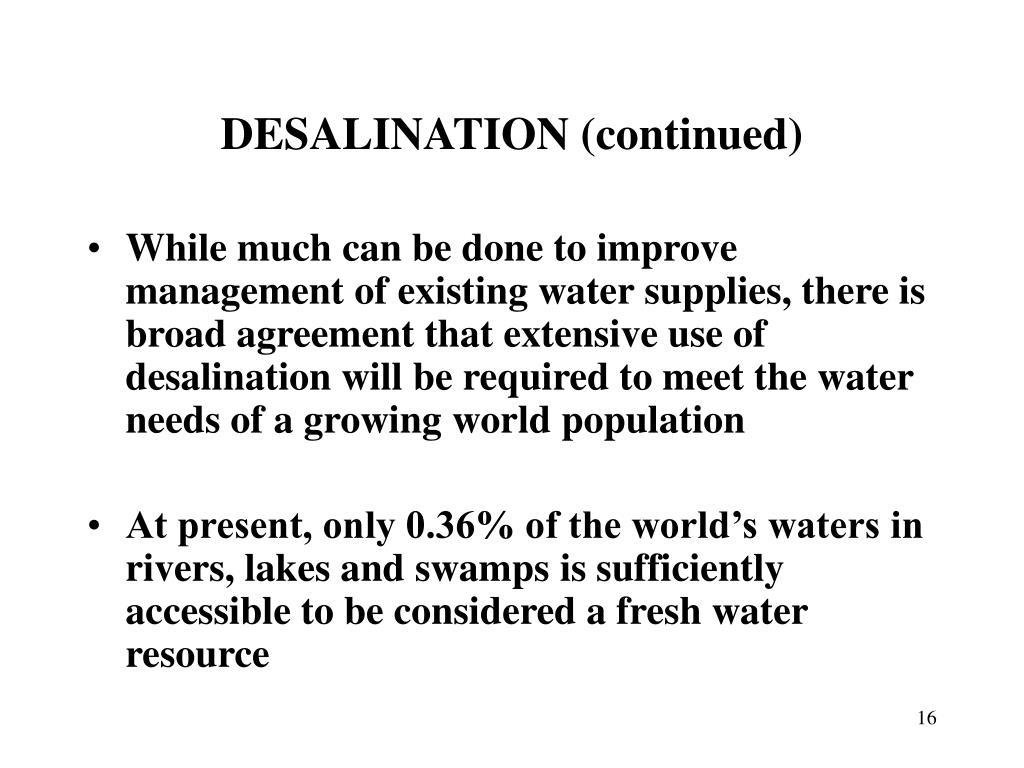 DESALINATION (continued)
