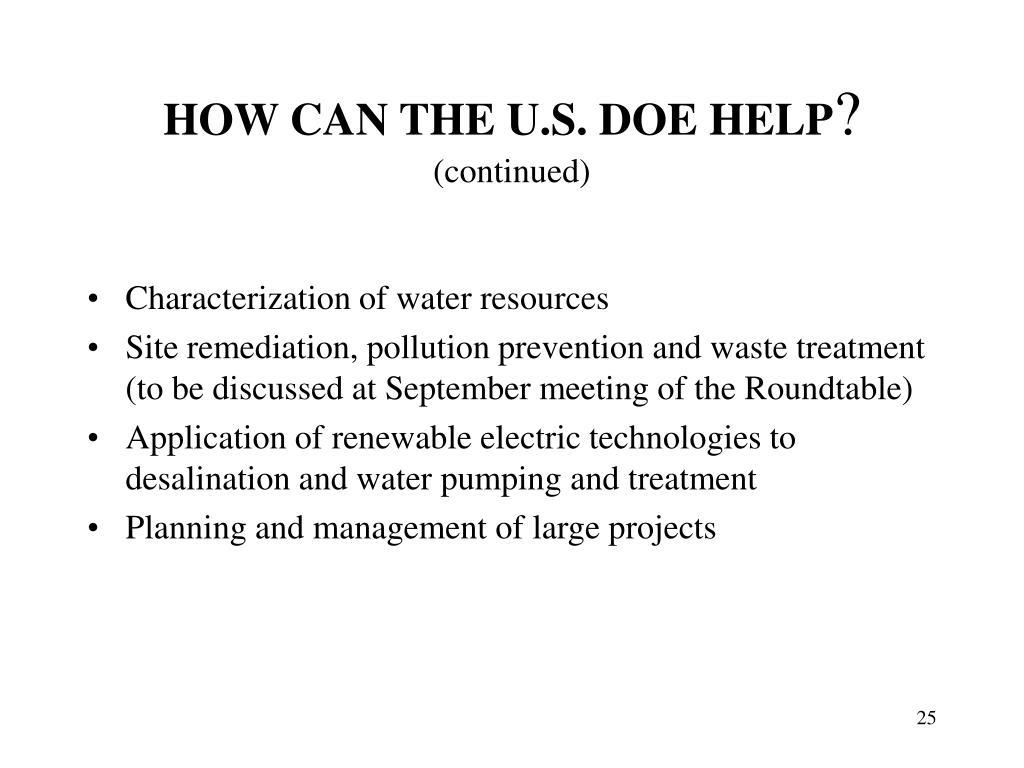 HOW CAN THE U.S. DOE HELP