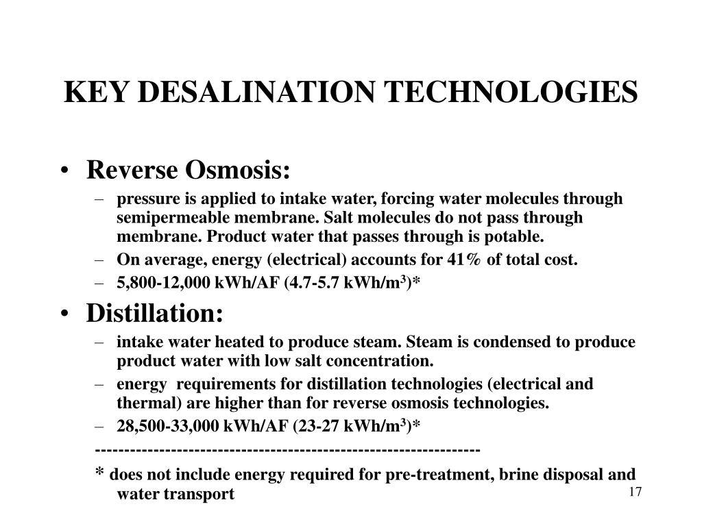 KEY DESALINATION TECHNOLOGIES