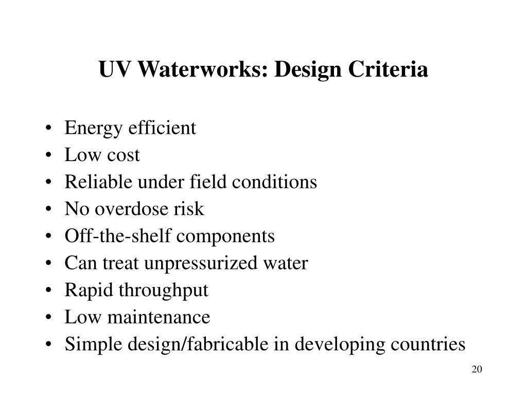 UV Waterworks: Design Criteria
