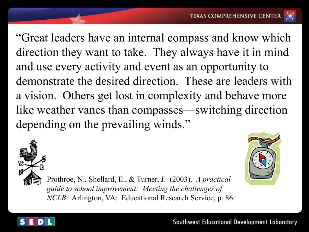 """""""Great leaders have an internal compass and know which direction they want to take.  They always have it in mind and use every activity and event as an opportunity to demonstrate the desired direction.  These are leaders with a vision.  Others get lost in complexity and behave more like weather vanes than compasses—switching direction depending on the prevailing winds."""""""